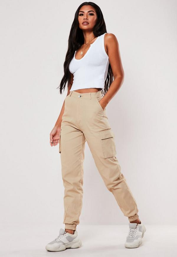 Petite Sand Plain Cargo Pants