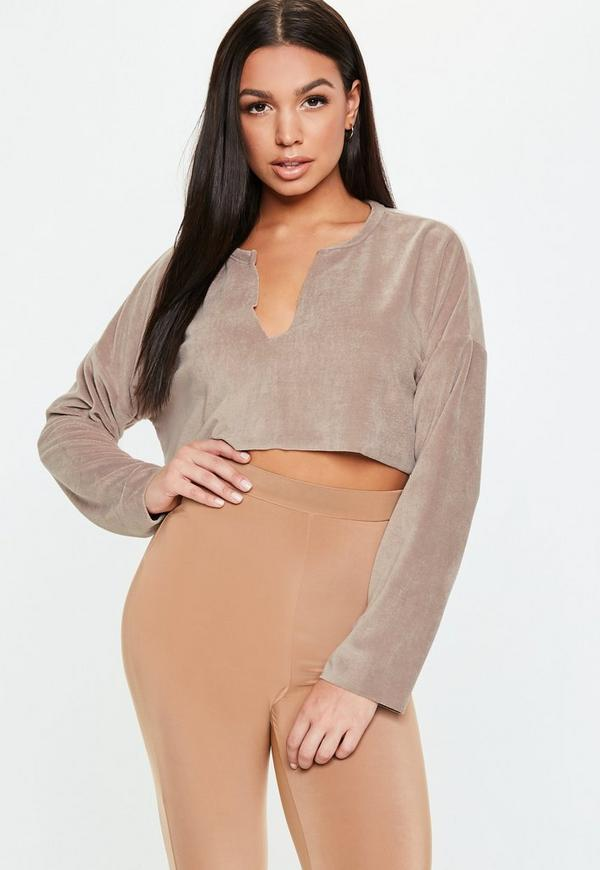 Petite Taupe Velour Notch Neck Sweater