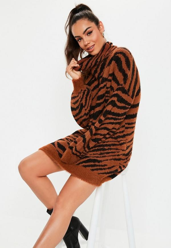 Petite Premium Rust Fluffy Roll Neck Animal Sweater Dress