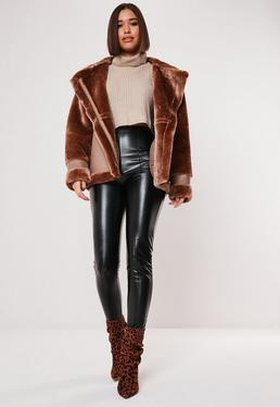 Veste tailleur simili cuir femme