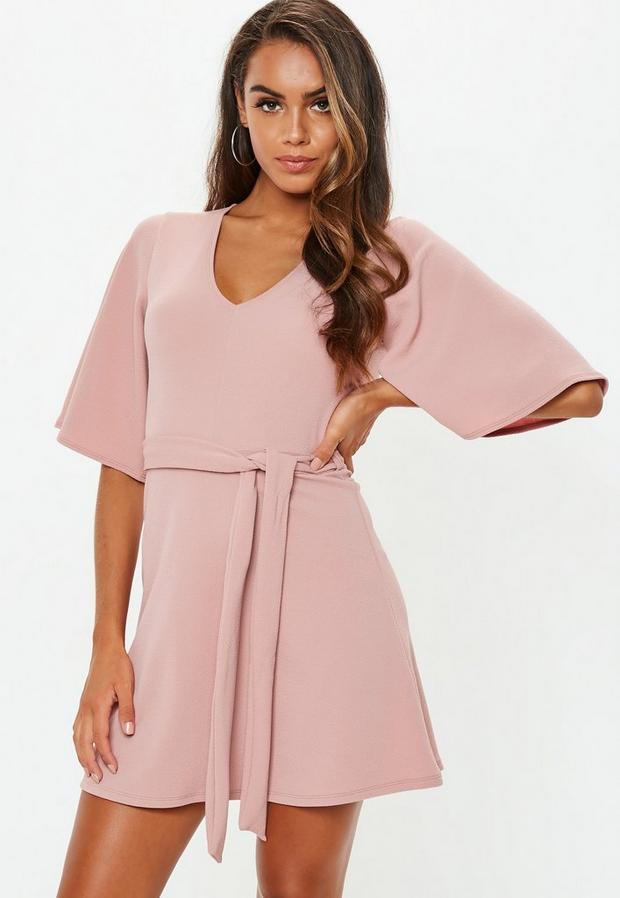 petite pink kimono sleeve plunge dress