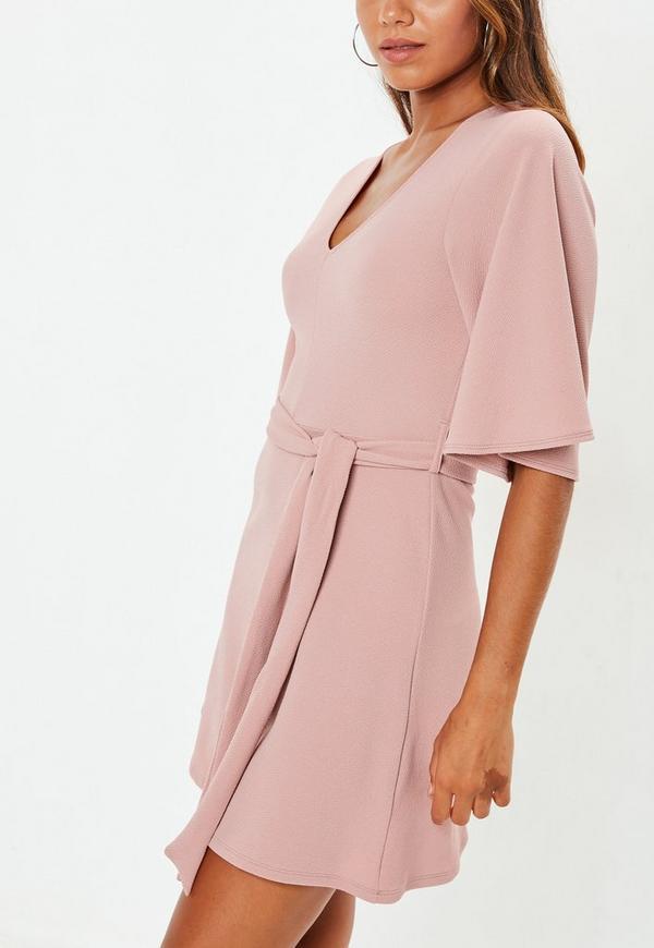 Petite Pink Kimono Sleeve Plunge Dress. Previous Next 544e309c9