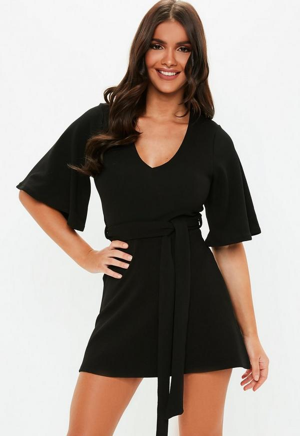 Petite Black Kimono Sleeve Plunge Dress