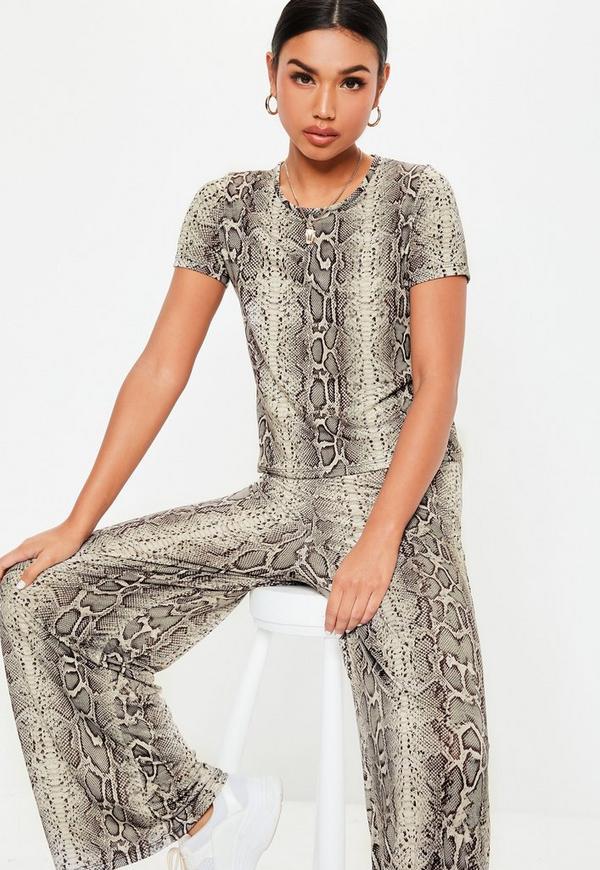 Petite Gray Co Ord Snake Print Pants