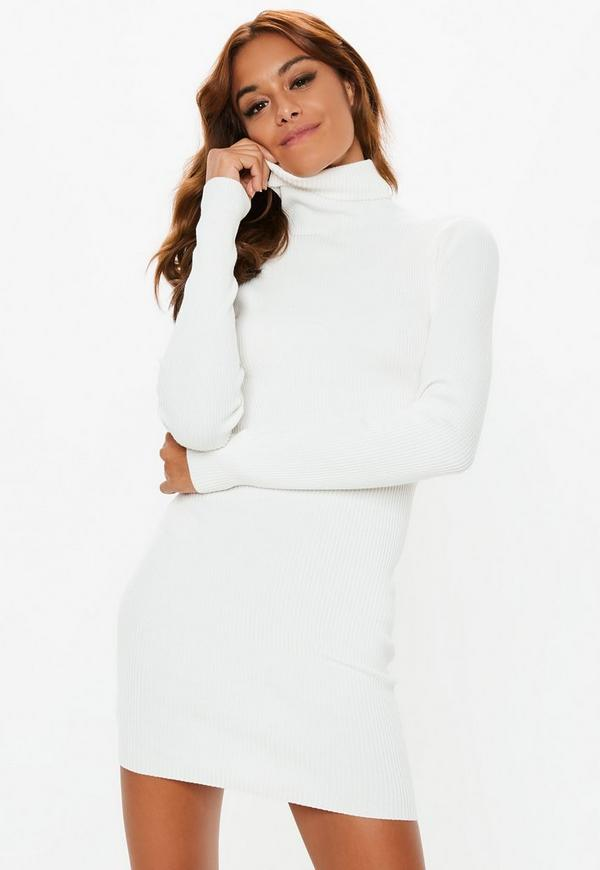 Petite White Roll Neck Ribbed Knitted Mini Dress