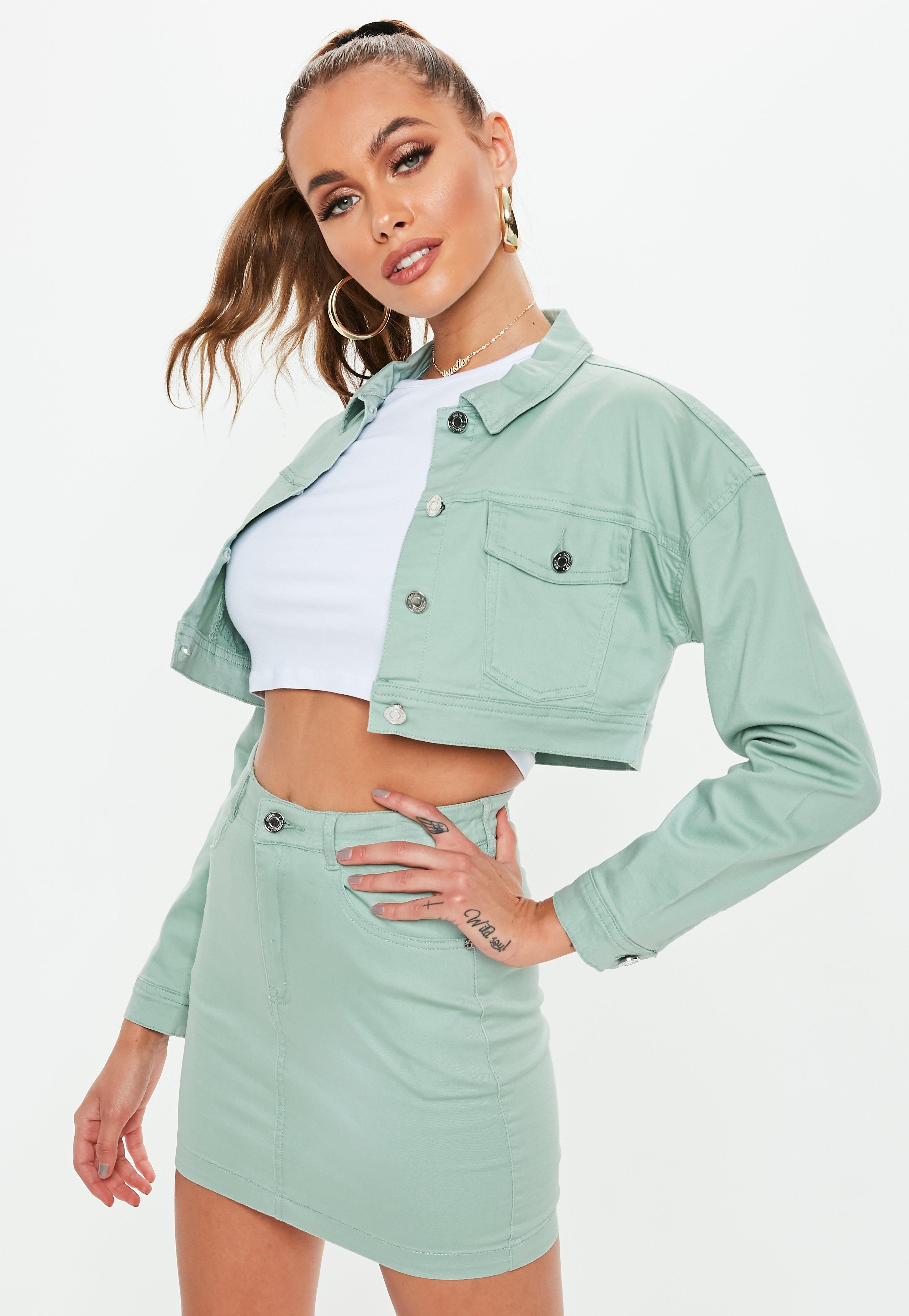 5e8fa799dad4 Petite Green Superstretch Denim Skirt | Missguided
