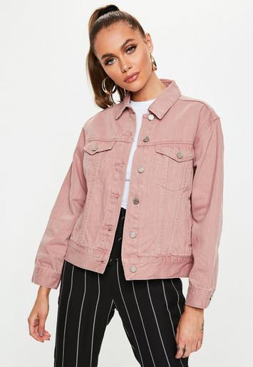 Petite Dark Pink Oversized Denim Jacket Missguided