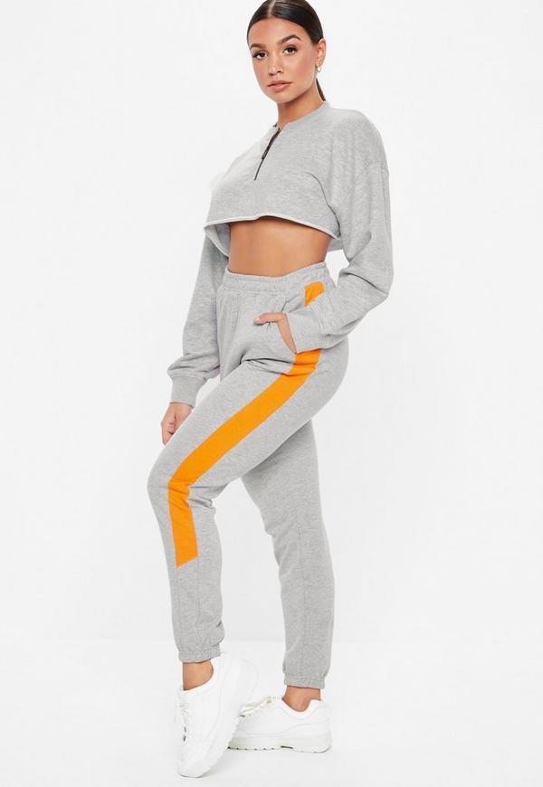 Petite Gray Oversized Zip Front Cropped Sweatshirt