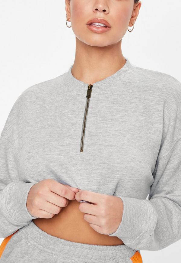 Petite Gray Oversized Zip Front Cropped Sweatshirt 42fd73e19
