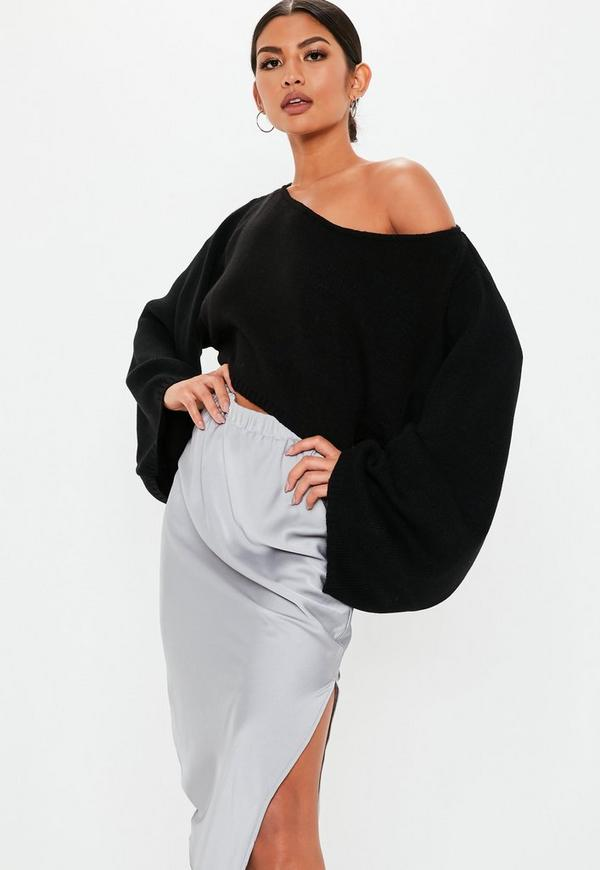 Petite Extreme Wide Sleeve Crop Sweater