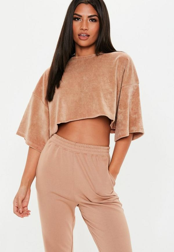 Petite Brown Velour Oversized Cropped T Shirt