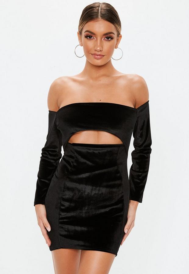 petite black velvet cut out mini dress