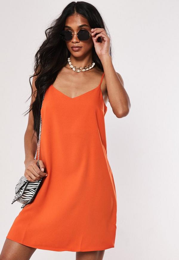 Petite Orange Crepe Cami Shift Dress