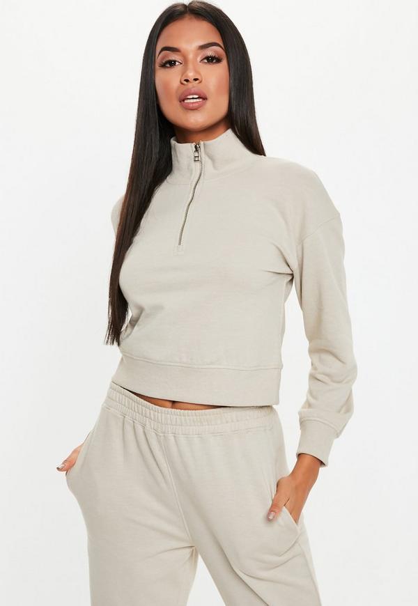 Petite Sand Zip Neck Sweatshirt