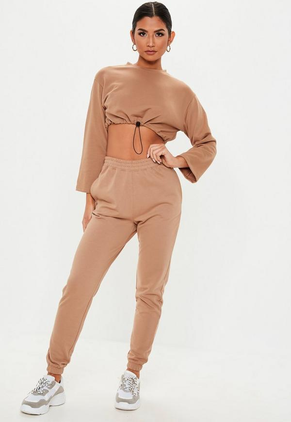 Petite Tan Toggle Waist Cropped Sweatshirt by Missguided