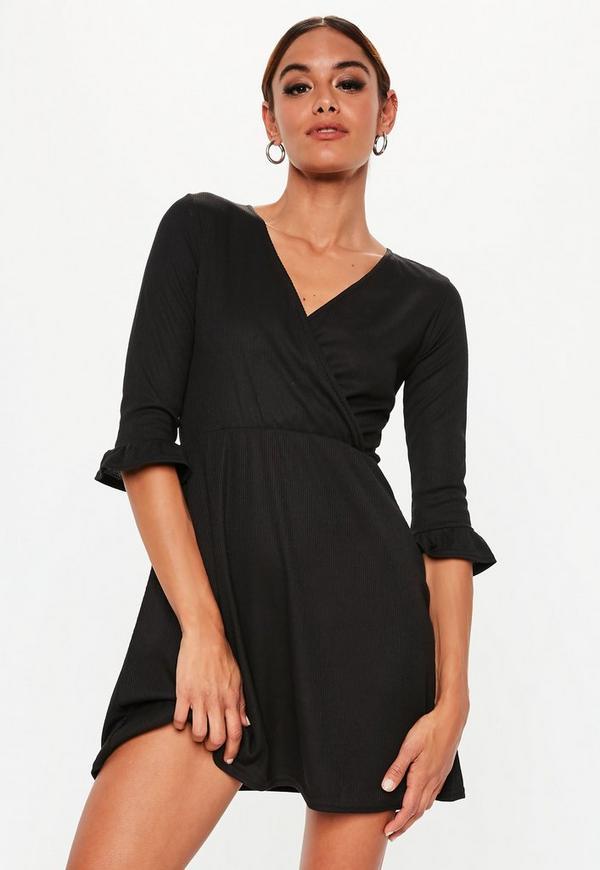 Petite Black Ribbed Skater Dress