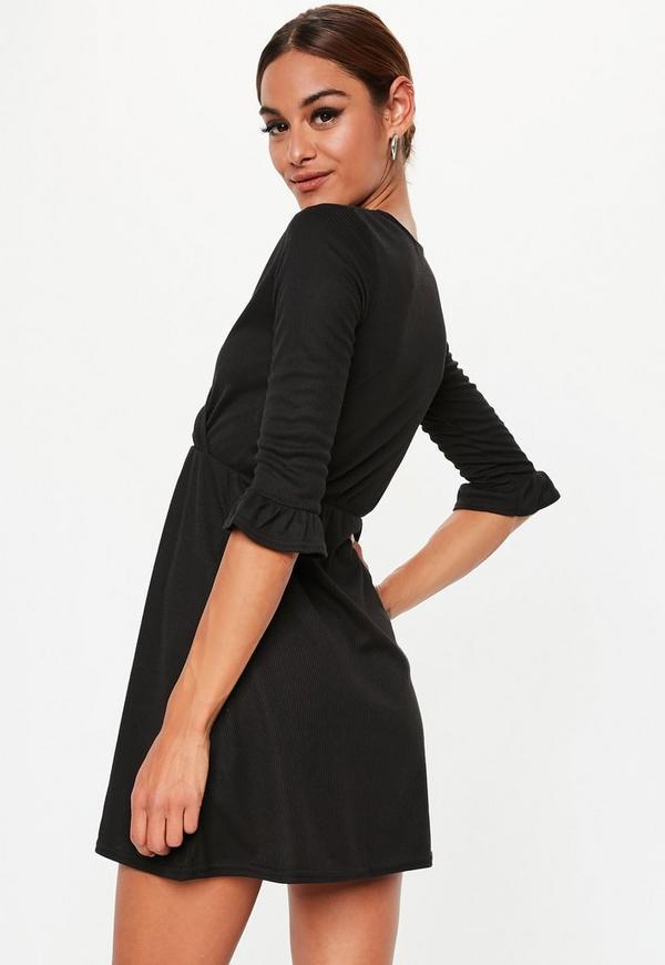 Petite Black Ribbed Skater Dress Missguided