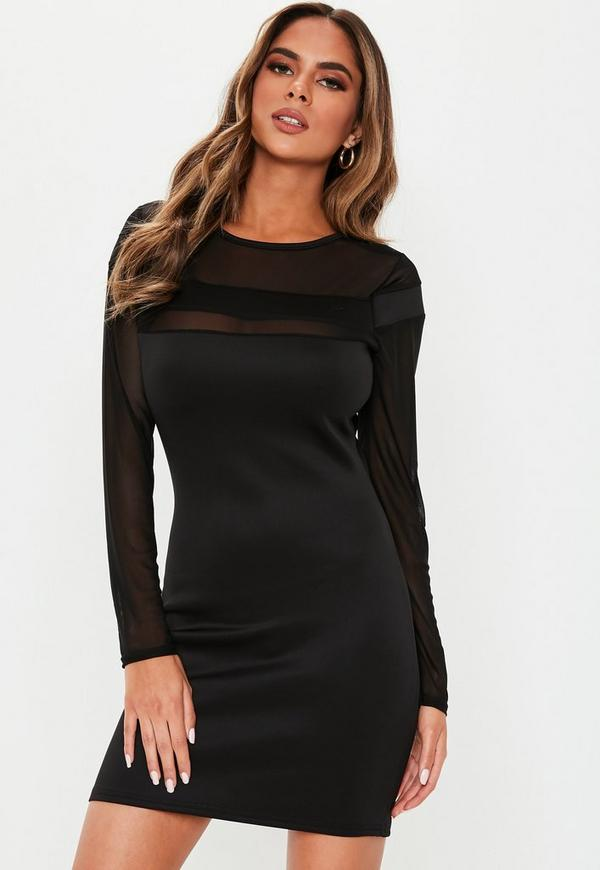 Petite Black Mesh Insert Mini Dress Missguided