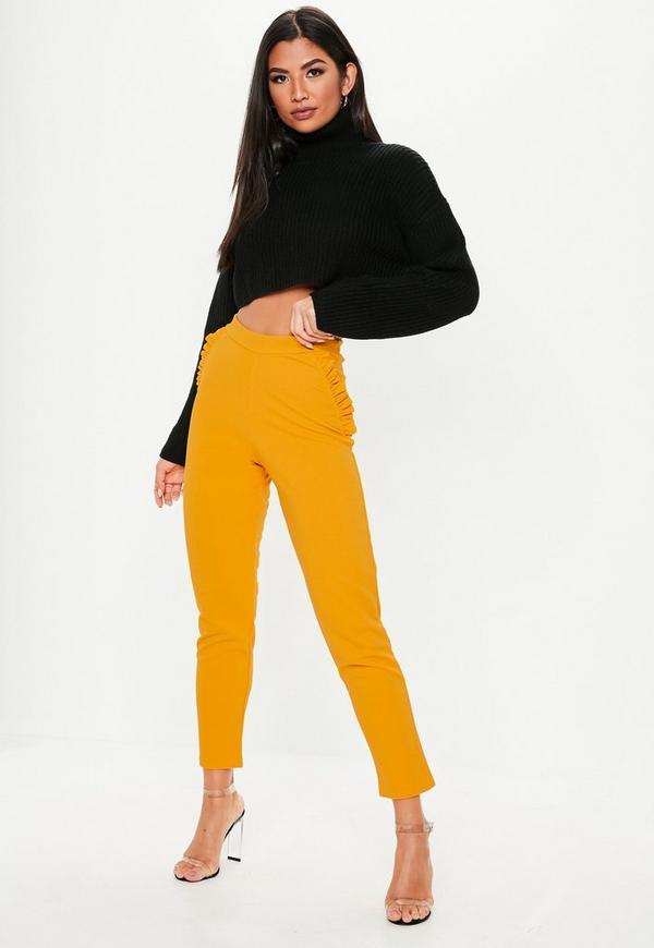Petite Mustard Frill Detail Skinny Pants