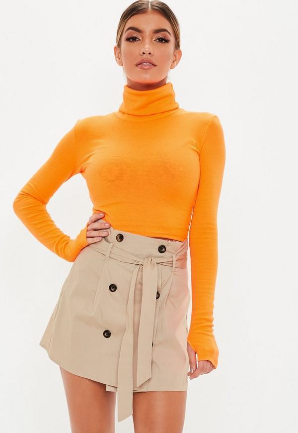 Petite Camel Utility Button Front Mini Skirt