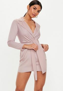 648b265a7b ... Petite Mauve Satin Tie Front Blazer Dress