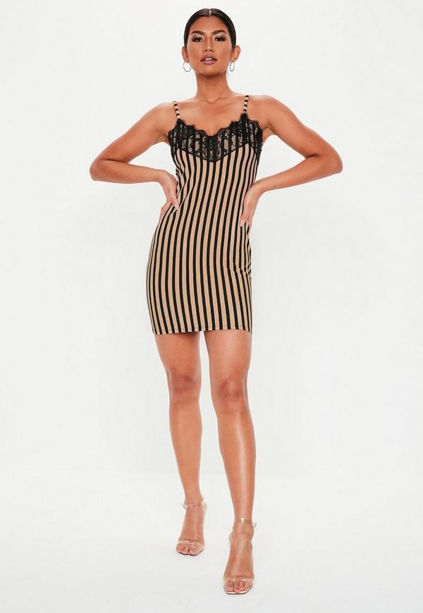 Petite Nude Stripe Lace Trim Slip Dress