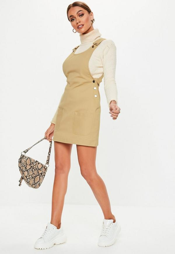 Petite Sand Pinafore Mini Dress