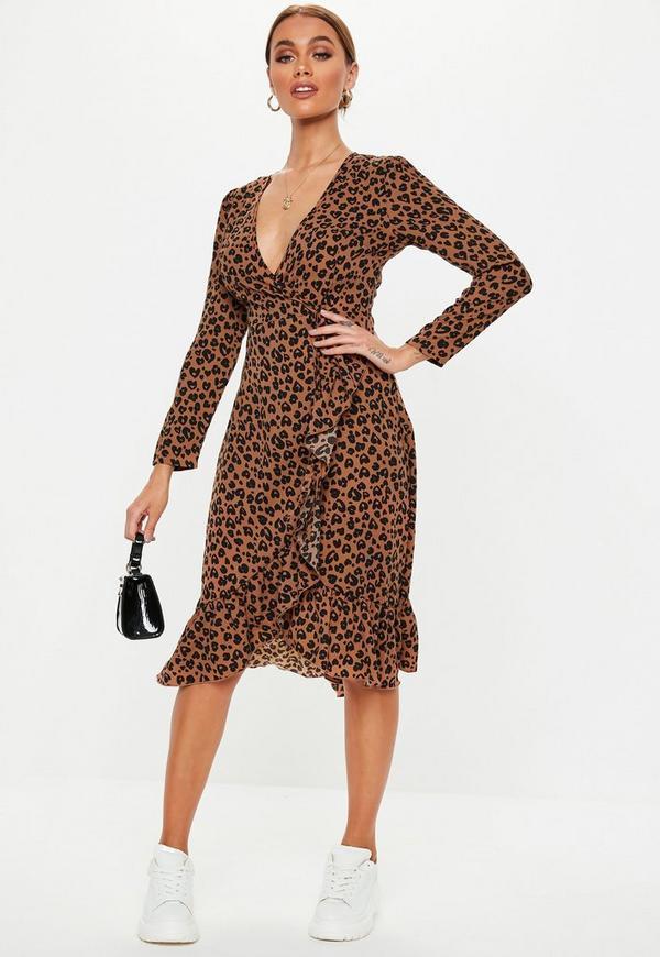 Petite Brown Leopard Print Midi Dress