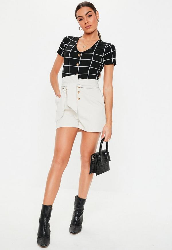 Petite Black Horn Button Grid Print Bodysuit