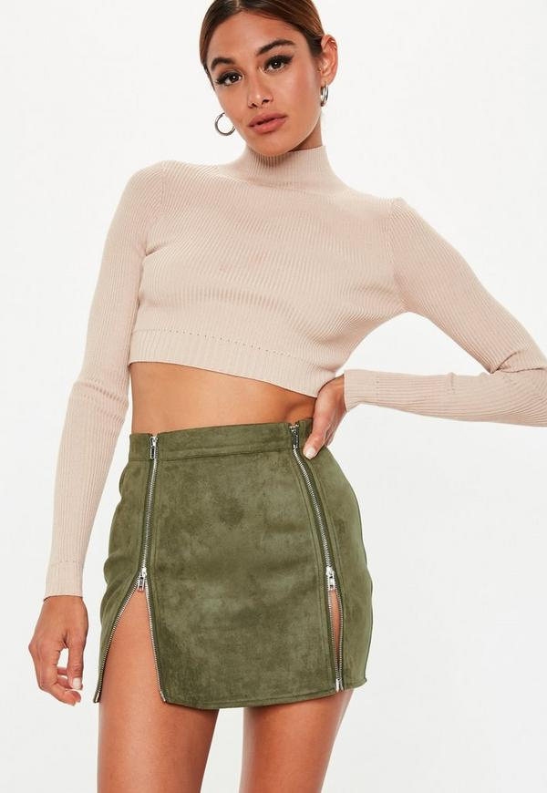 5c0770ba77e8 Petite Khaki Faux Suede Zip Mini Skirt   Missguided