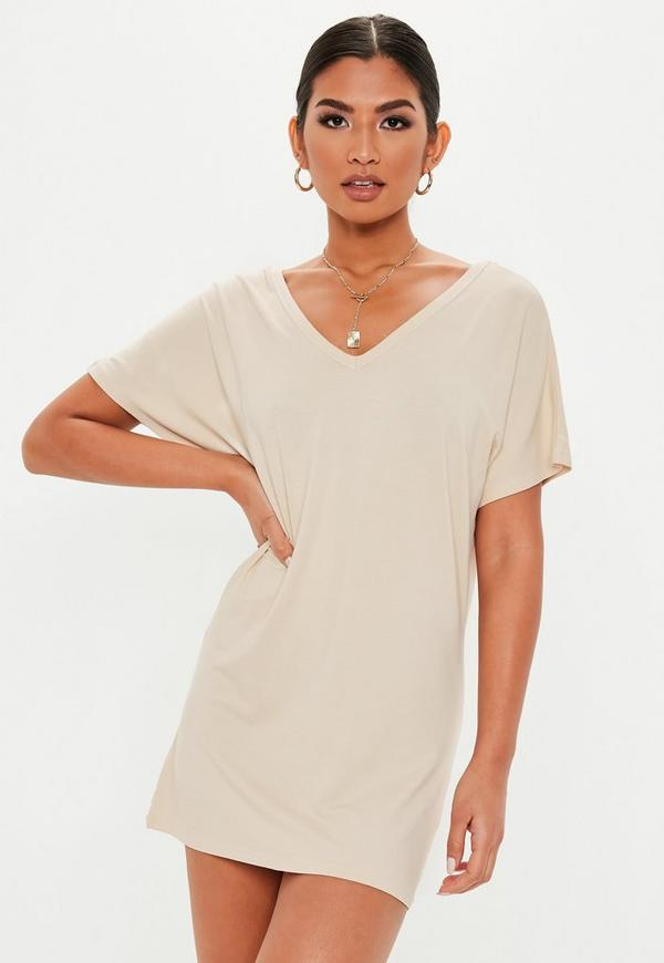 Petite Sand Wide V Neck T Shirt Dress