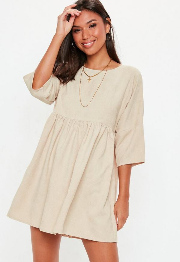 Petite Cream Cord Smock Dress