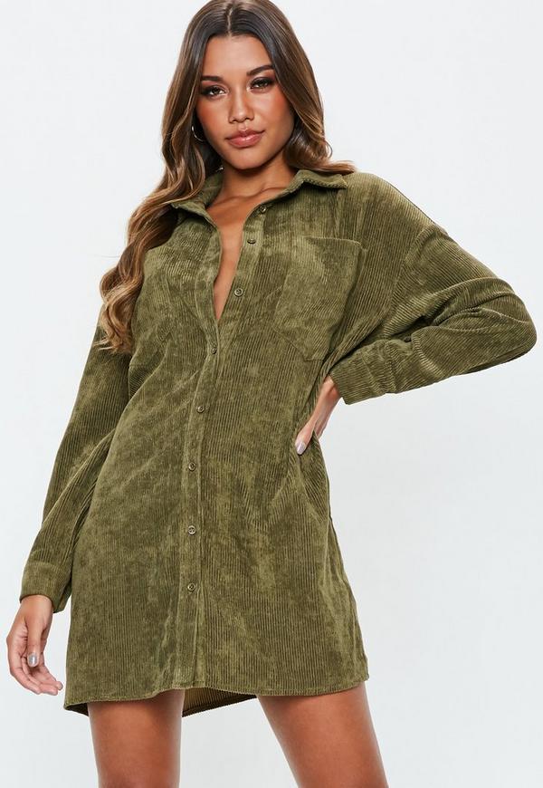Petite Khaki Oversized Cord Shirt Dress Missguided