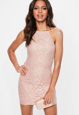 Pee Pink Lace Square Neck Bodycon Dress