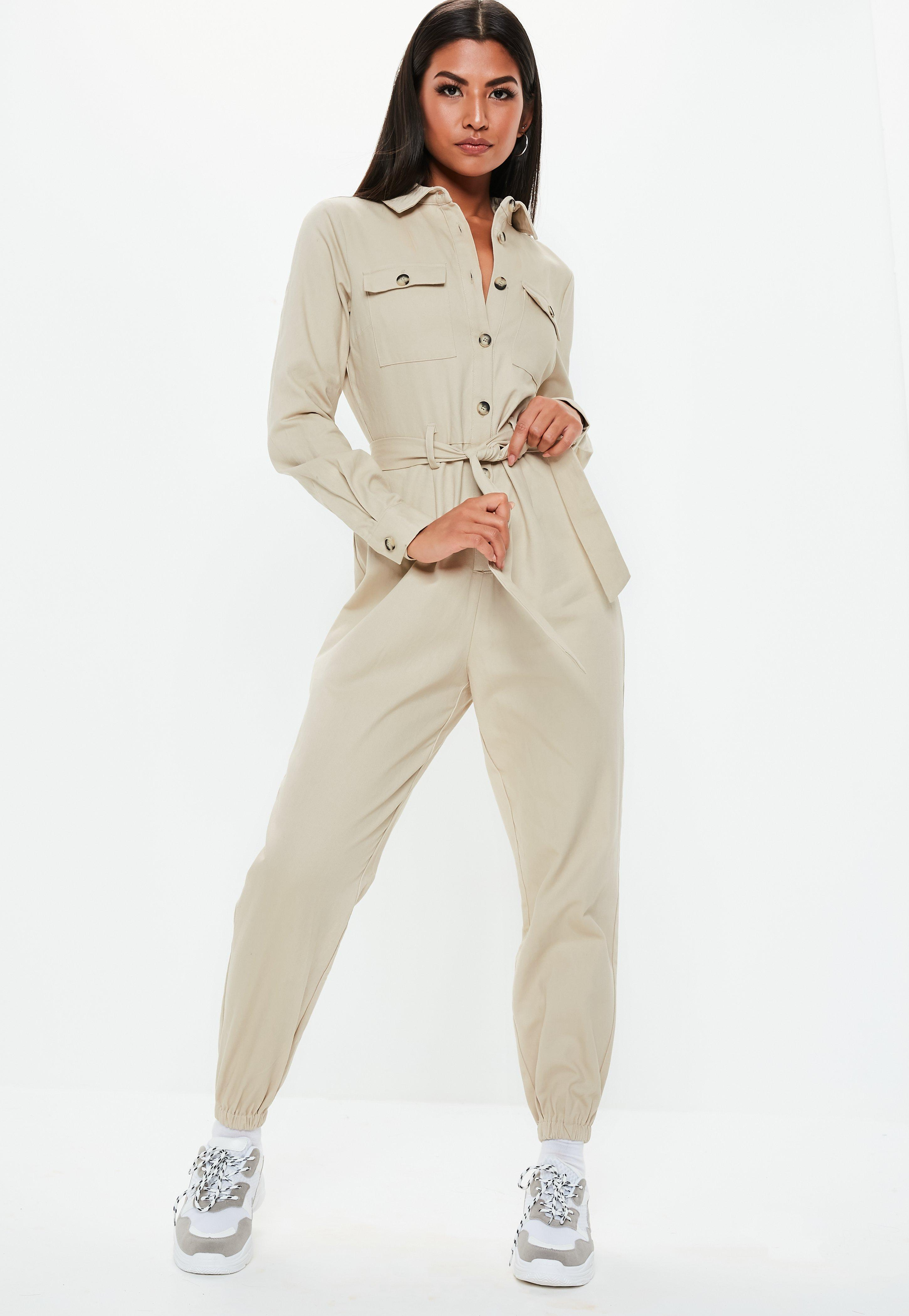 e20ebb564be Petite Sand Utility Belted Jumpsuit