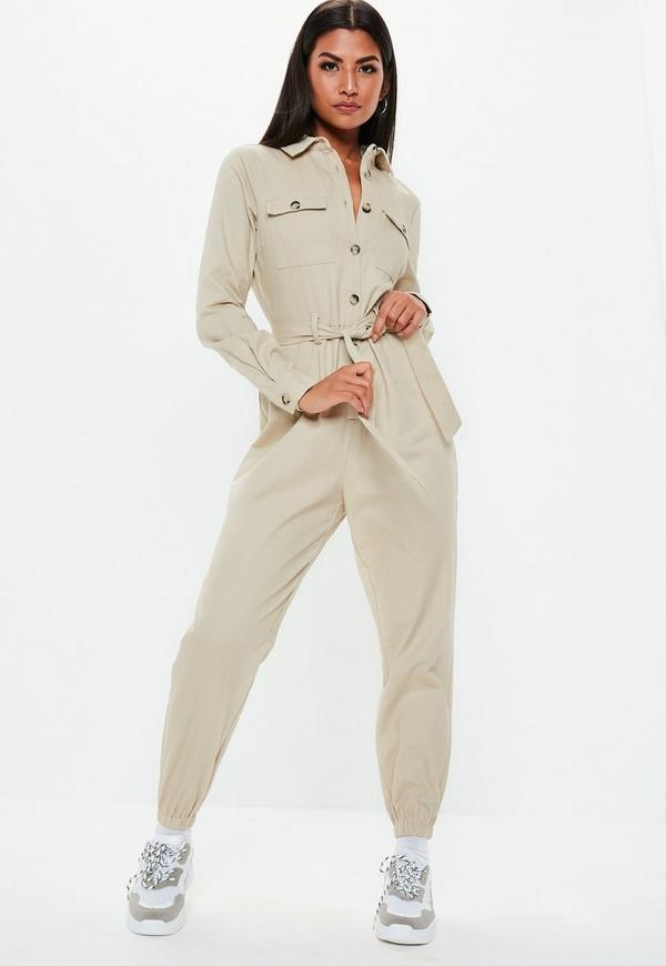 Petite Sand Utility Belted Jumpsuit