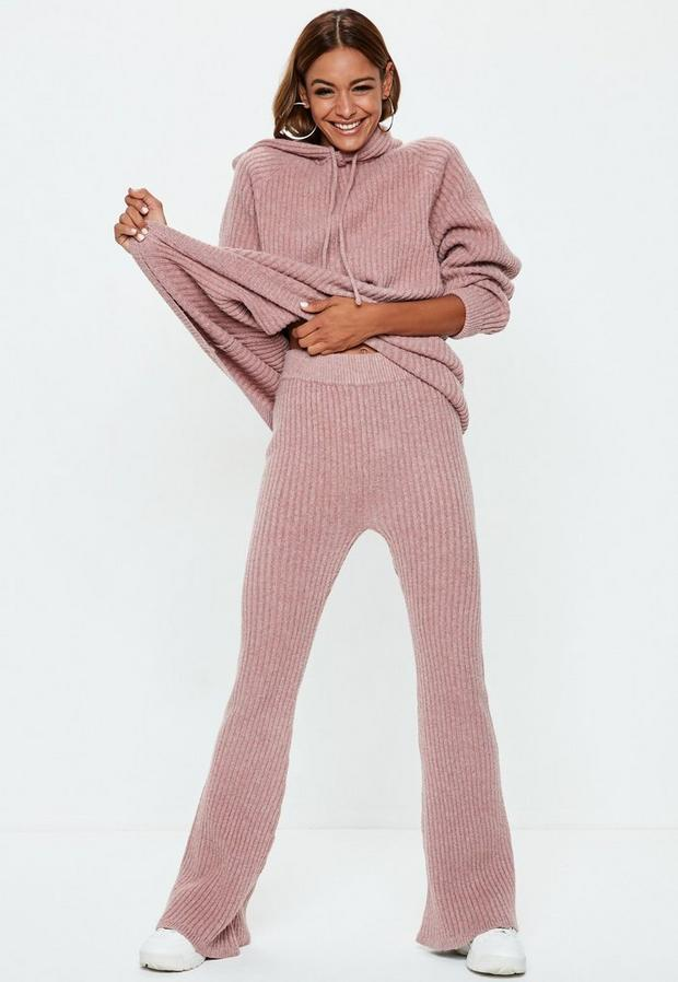 petite pink ribbed knit co ord pants