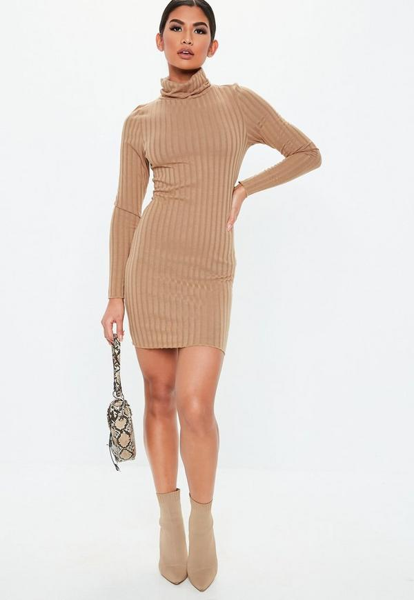 Petite Camel Ribbed Roll Neck Lettuce Hem Mini Dress