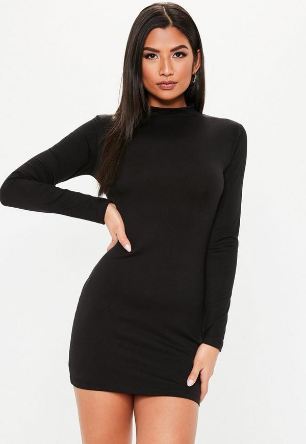 db47ff729d2 Petite Black Curve Hem Roll Neck Mini Dress