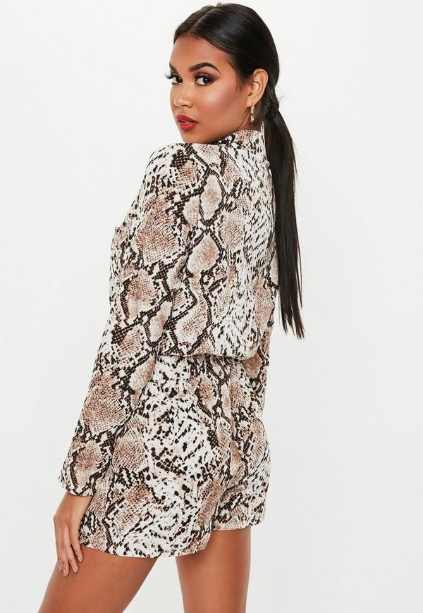 4911f4a50f8 ... Petite Brown Snakeprint Long Sleeve Utility Romper. Previous Next