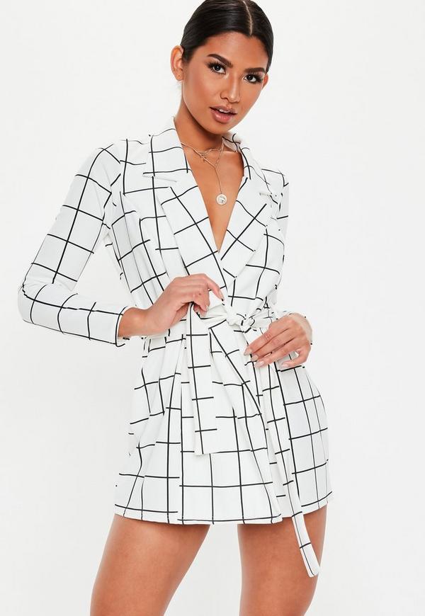 Petite White Grid Print Blazer Dress