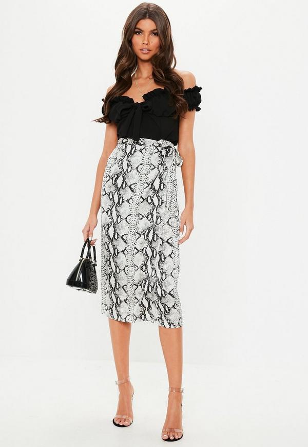 Petite Gray Snake Print Tie Side Midi Skirt