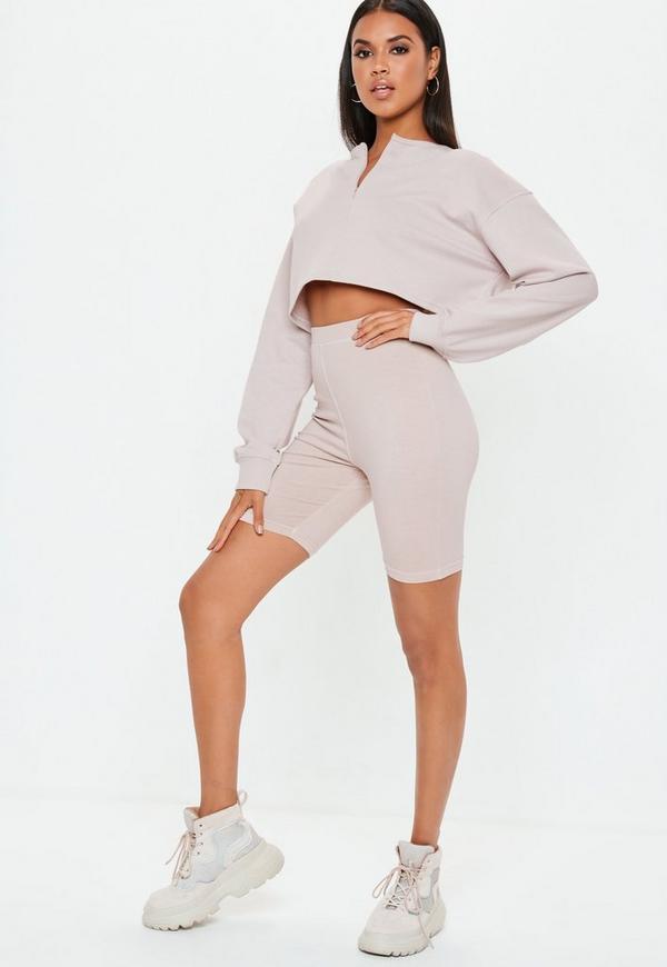Petite Cream Zip Front Crop Sweatshirt