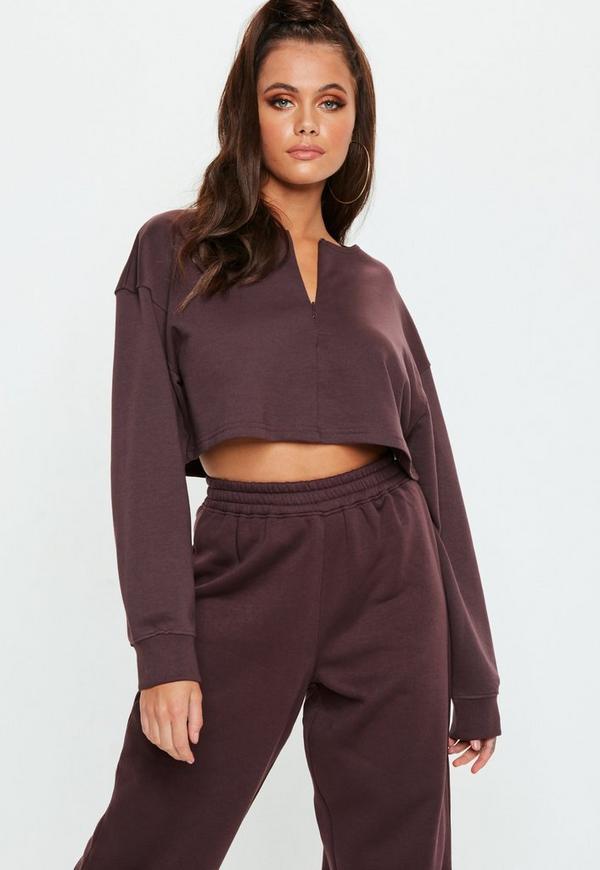 Petite Chocolate Zip Front Crop Sweatshirt