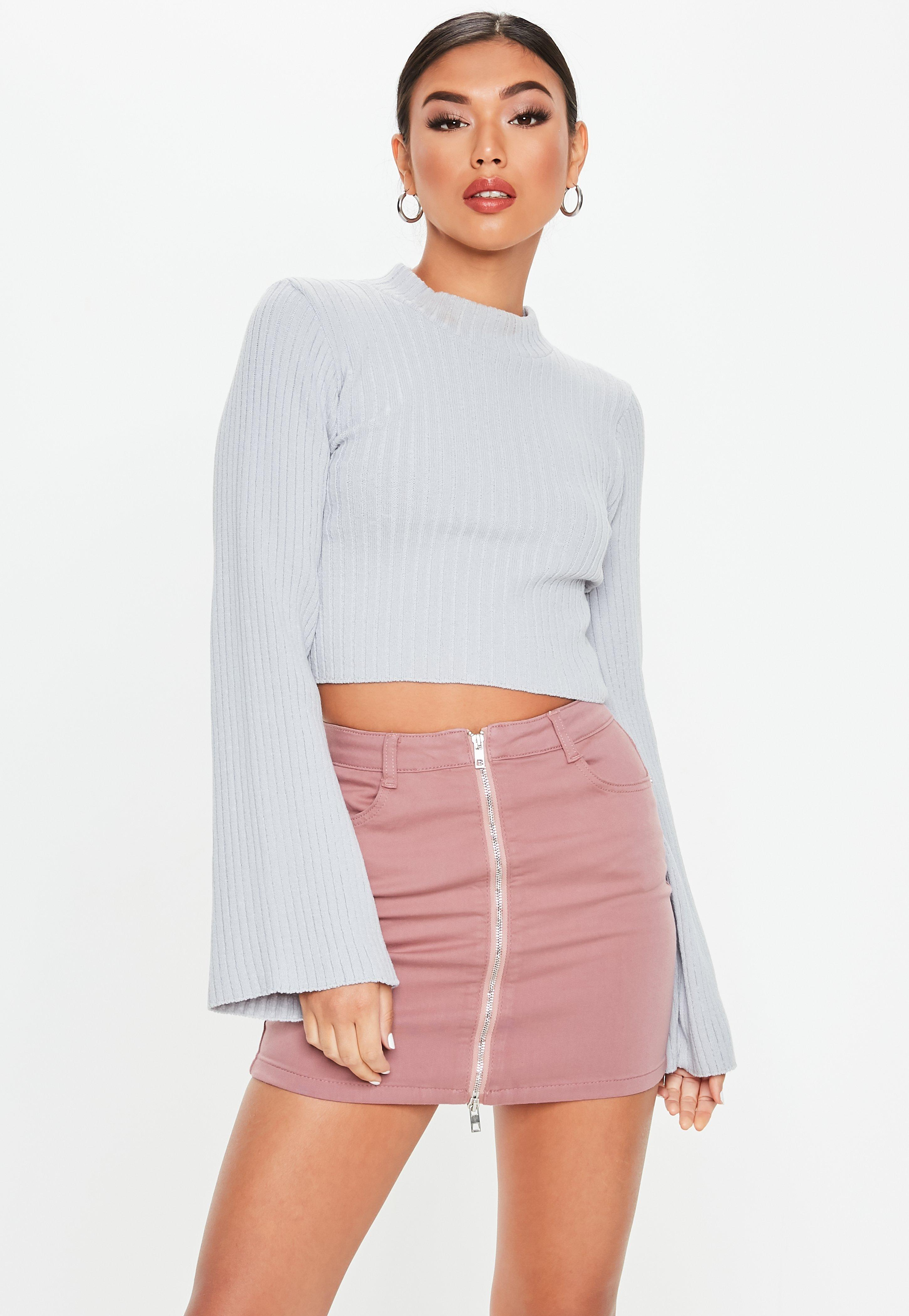 2b214ec2858c Petite Pink Superstretch Denim Mini Skirt | Missguided