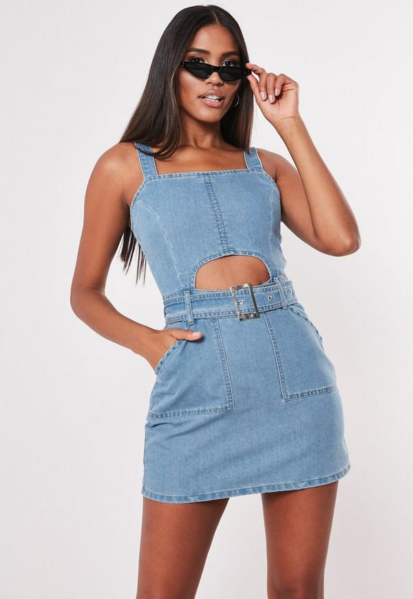 f22e361482 petite blue mid wash denim cut out mini dress