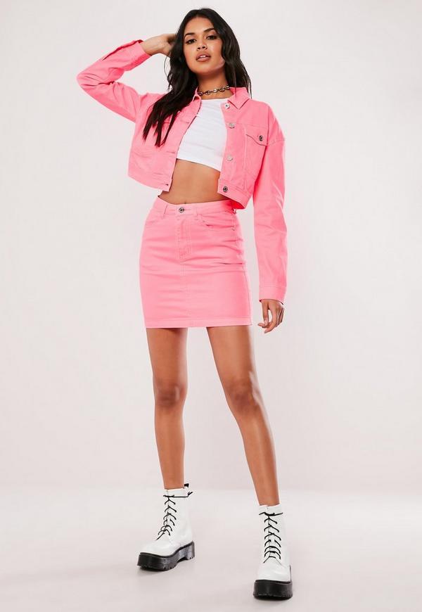 Petite Neon Pink Contrast Stitch Co ord Denim Skirt