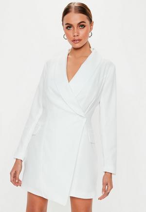 94b402e4c7cb £35.00. petite white asymmetric blazer dress