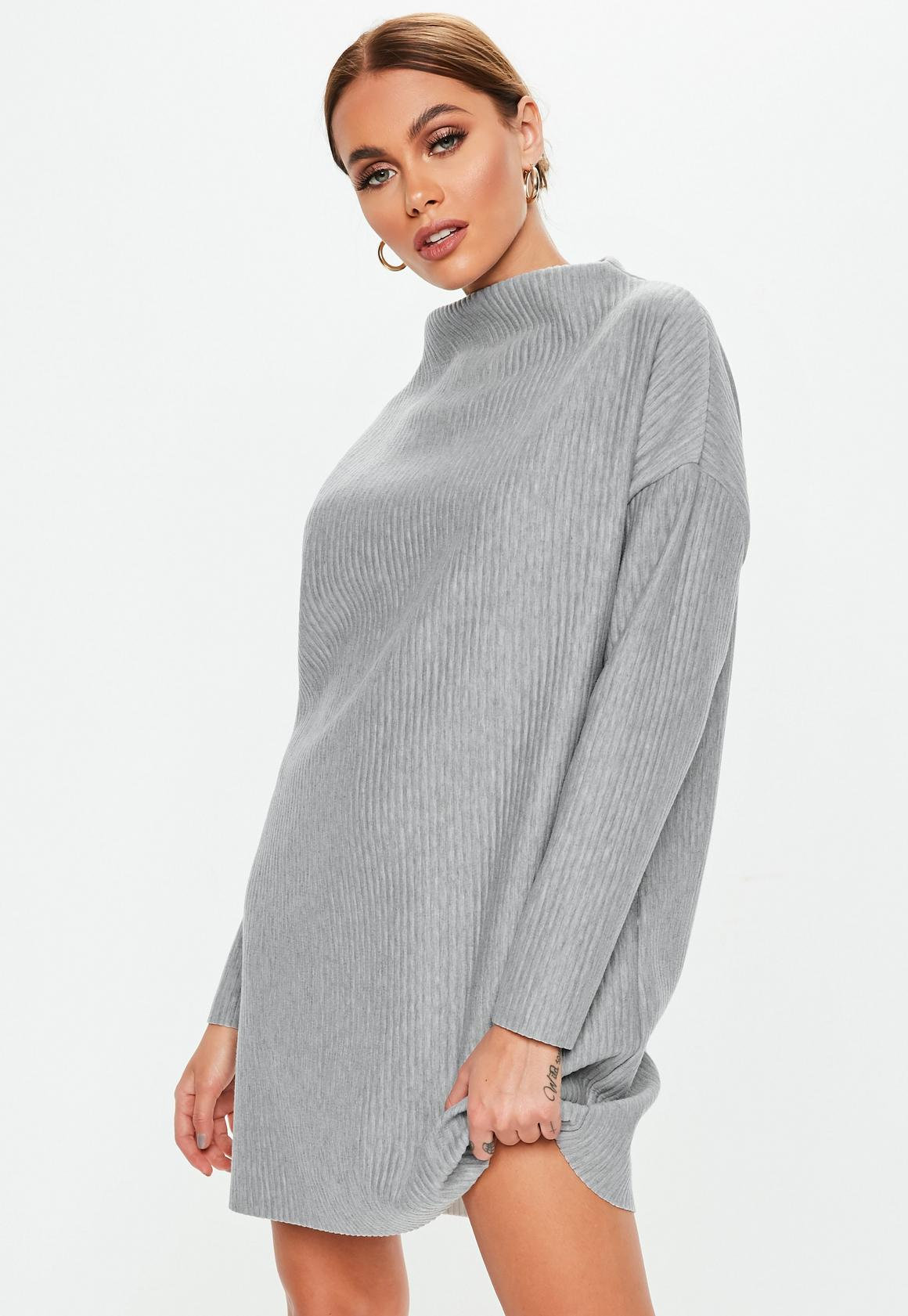 Petite Gray Oversized Ribbed Sweater Dress. Hover to Zoom 8483bdebf