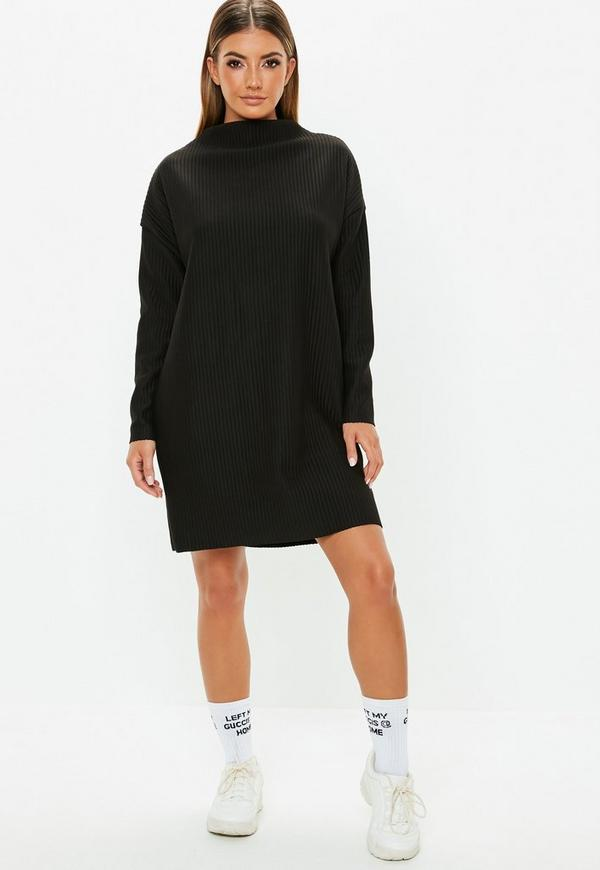 Petite Black Oversized Ribbed Sweater Dress